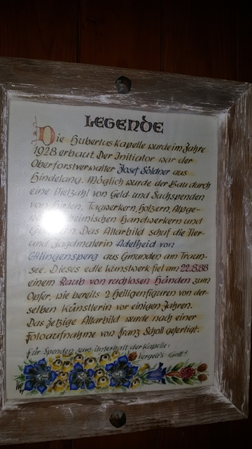 Legende Hubertuskapelle- Ferienwohnungen Plangger